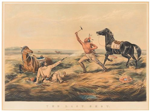 CURRIER and IVES, publishers. - After Louis Maurer. The Last Shot. Hand-colored lithograph. 1858.