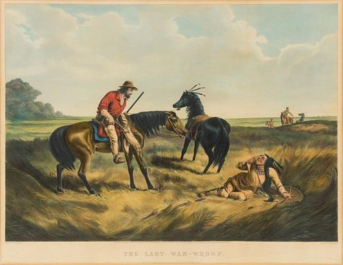 CURRIER and IVES, publishers. - After A.F. Tait. The Last War-Whoop. Hand-colored lithograph. 1856.