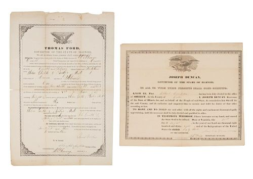 [ILLINOIS GOVERNORS] Two printed documents signed by Illinois Governors.