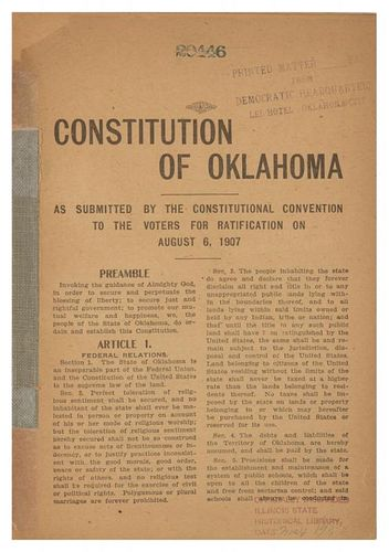 [OKLAHOMA] Constitution of Oklahoma as submitted by the constitutional convention to the voters for ratification on August 6,