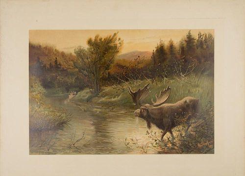 "[SPORTING] - SANDHAM, Henry (1842-1910) ""Stalking the Wapiti. (Elk Hunting)."" - ""A Moose Hunt."" [Boston,] 1889-1890."