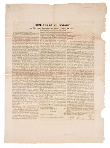 [TARIFF OF 1832] Remarks of Mr. Knight, On Mr. Clay's Resolution, in Senate, February 14, 1832. N.p.: n.p., [1832]. 2 pages.
