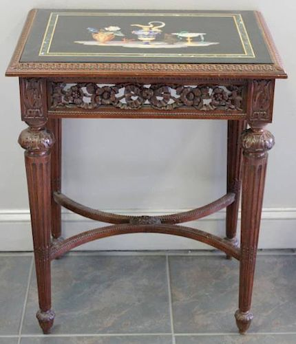 Outstanding Antique Pietra Dura Top Table.