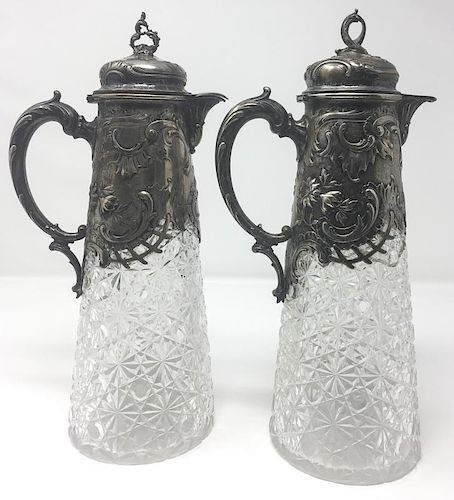 A Pair of 19th Century Silver-Mounted Glass Wine Decanters