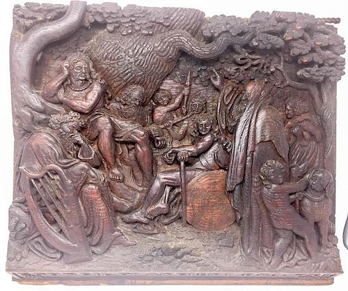 An English Carved Wood Plaque of Pagans