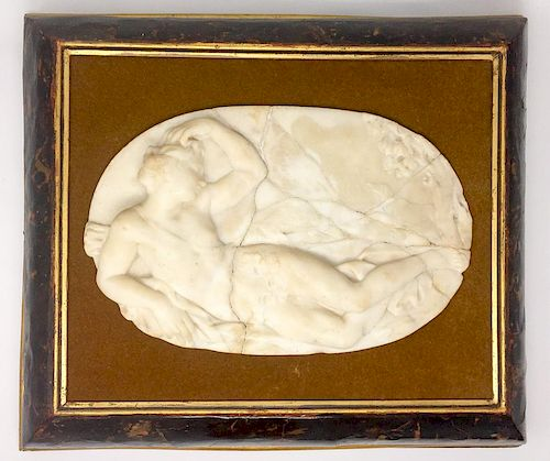 A Marble Oval Plate of a Reclining Woman in a Tortoise Shell Wooden Frame
