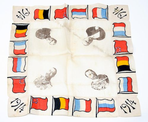 An Engraved Political Silk Handkerchief, WWI Allies, 1914