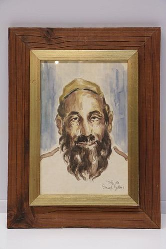 Watercolor on Paper of a Rabbi, Signed