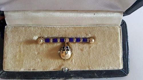 Russian Gold Enamel Diamonds Egg Pin Brooch