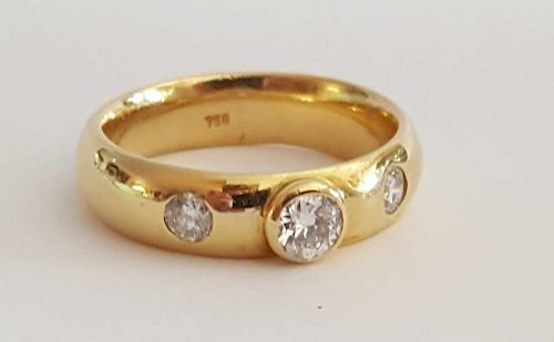 18K Gold and Diamonds Mens Ring