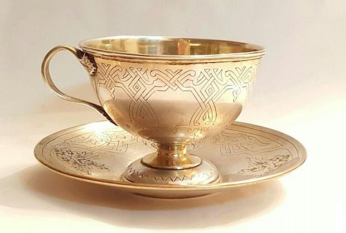 Antique Russian Silver Pan Slavic Cup Saucer Set