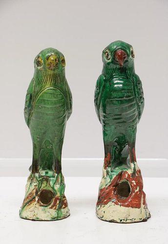 19th C. Pair of Green Glazed Porcelain Birds