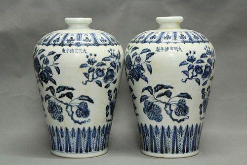 Pair of Chinese Blue/White Porcelain Vases