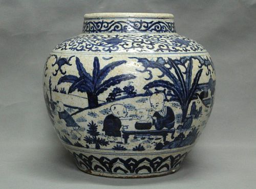 Pair of Chinese Blue/White Porcelain General Jars
