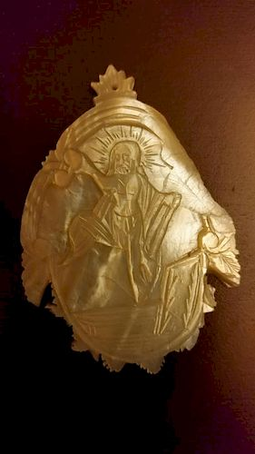 Antique Mother Pearl Russian icon of Resurrection