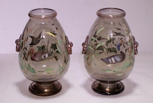 Pair of Moser Glass Vase
