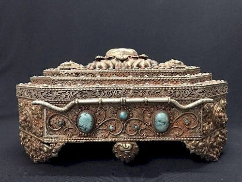 Chinese Finely Carved Jewelry Box w Turquoise