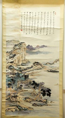 Chinese Ink/Color Scroll Painting, Signed