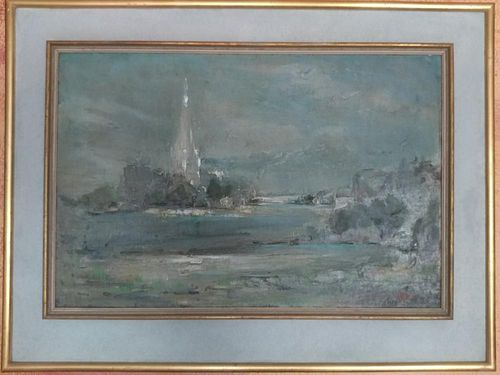 Antique oil on canvas of the seascape Signed