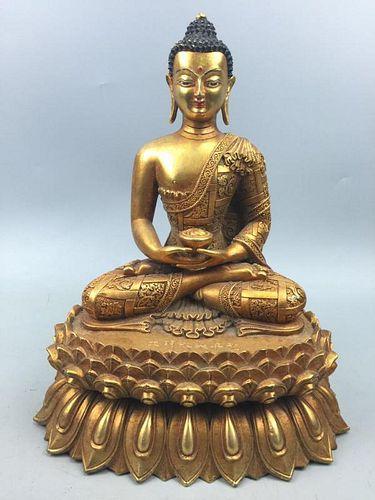 Chinese Gilt Bronze Buddha, Marked