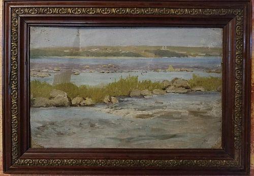 Antique landscape oil on canvas by Uriy Pavlovich