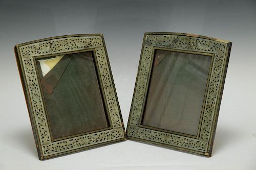 Pair of Wood Table Photo Frame with Jade