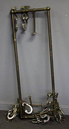 Vintage Brass and Aluminum Metal Ceiling Rack.