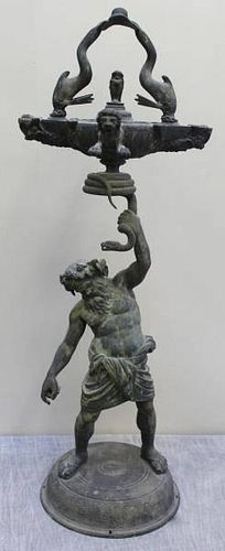 Great Italian Bronze Grand Tour Oil Lamp.