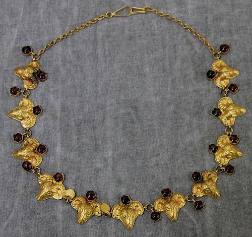 JEWELRY. 14kt Gold Rams Head and Garnet Necklace.