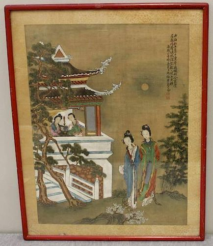 Pair of Vintage Chinese Watercolor Gouache on Silk