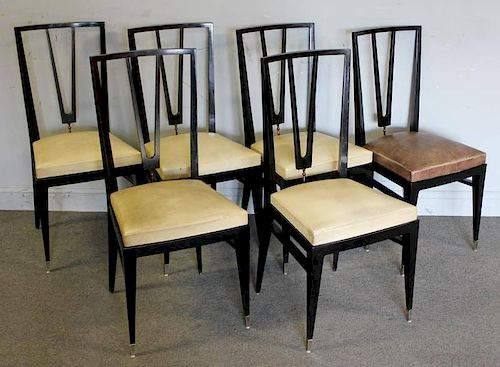 Set of 6 Lacquered Dining Chairs with Brass