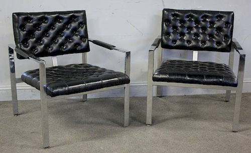 Harvey Probber Style Chrome Lounge Chairs.