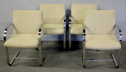 Midcentury Set of 4 Milo Baughman Chrome Armchairs