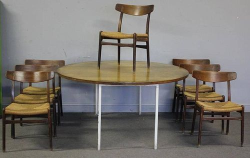 Midcentury Teak Dining Set with Danish Chairs.