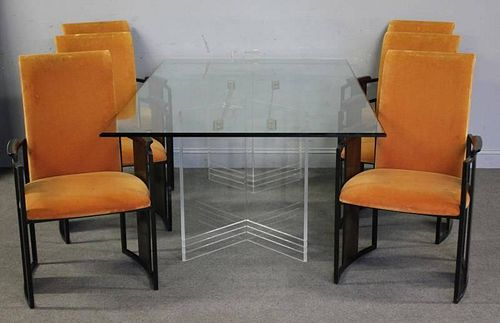 Unusual Midcentury Dining Set with Lucite & Brass