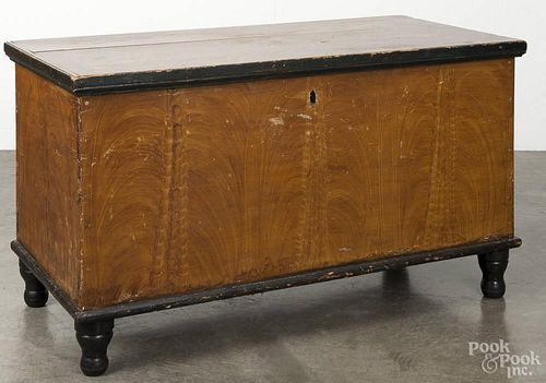 Pennsylvania painted poplar blanket chest, 19th c., retaining its original yellow grained surface, 2