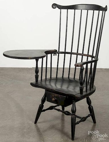 W. Wallick contemporary painted writing arm Windsor chair, seat height - 18 1/2''.