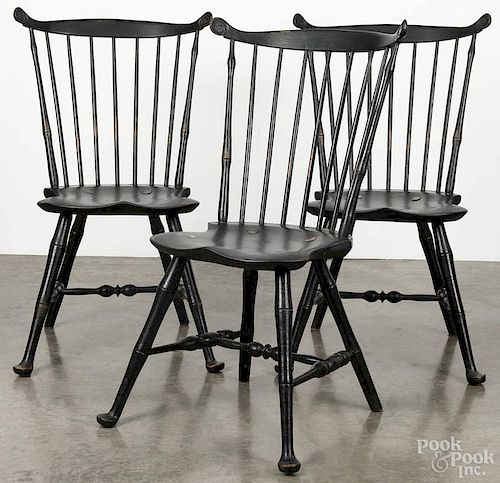 Set of six W. Wallick contemporary painted Windsor dining chairs, seat height - 17 1/2''.