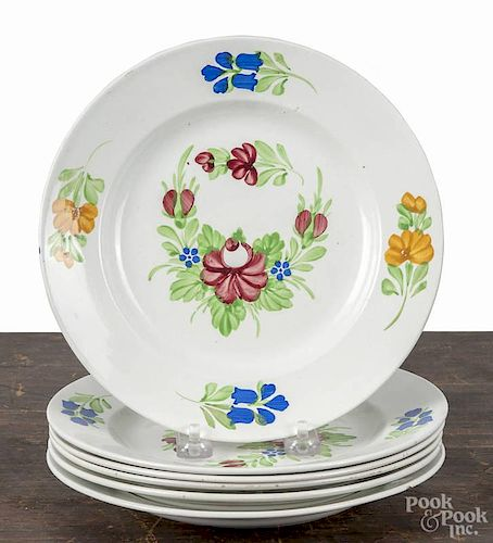 Set of six Villeroy & Boch floral plates, late 19th c., 8 1/2'' dia.