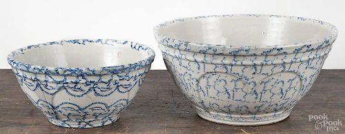 Two spongeware bowls, 19th c., 6 1/4'' h., 13'' dia. and 4 3/4'' h., 10 1/4'' dia.