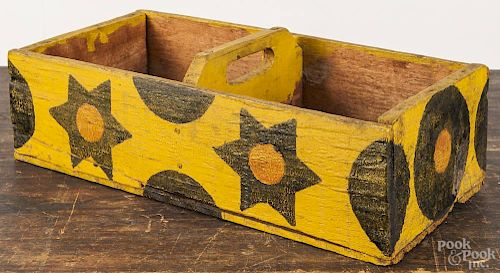 Painted pine carrier, 20th c., made from a shipping crate, with star and moon decoration on a yellow