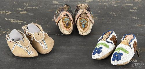 Three pair of Native American Indian beaded moccasins, early 20th c., to include Cree and Sioux exam