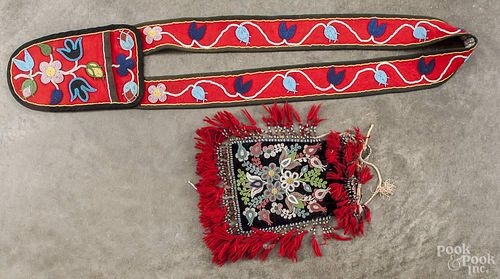 Native American Indian beaded pouch, 20th c., 11 1/2'' h., 10 1/2'' w., together with a Northwest Coas