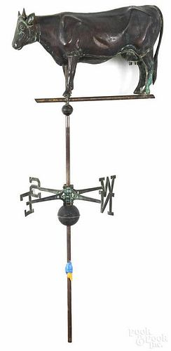 Full-body copper cow weathervane, 20th c., with a cast iron head, together with a directional, 26 1/