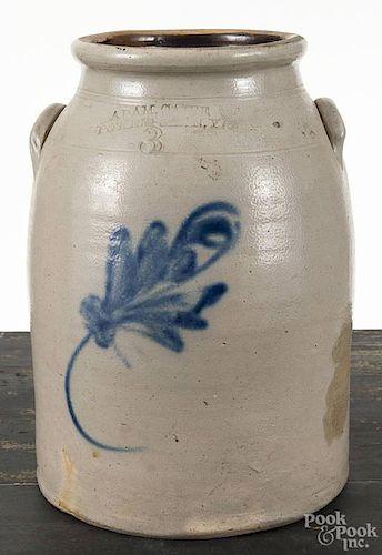 New York three-gallon stoneware crock, 19th c., impressed Adam Caire Po'Keepsie N. Y., with cobalt