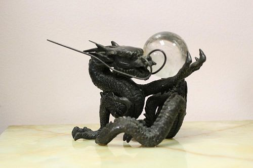 Chinese Bronze Dragon Holding A Rock Crystal Ball