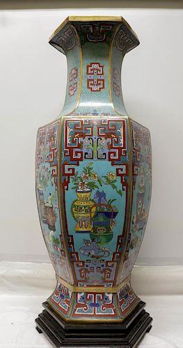 Very Large Chinese Cloisonne Gilt Hexagon Vase
