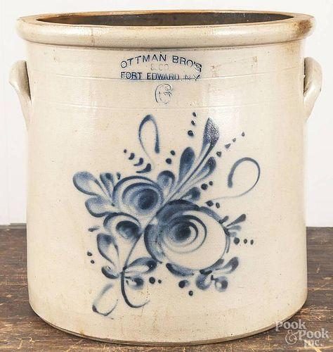 New York six-gallon stoneware crock, 19th c., impressed Ottman Bro's & Co. Fort Edward N.Y., with