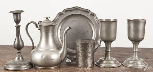 Four pieces of English pewter, 19th c., to include a pair of chalices, 7 1/4'' h.