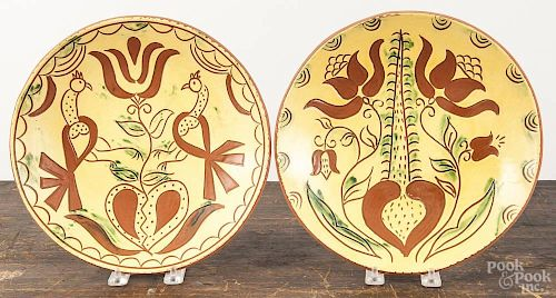 Four Lester Breininger redware plates, signed and dated 2002, largest - 11 1/2'' dia.